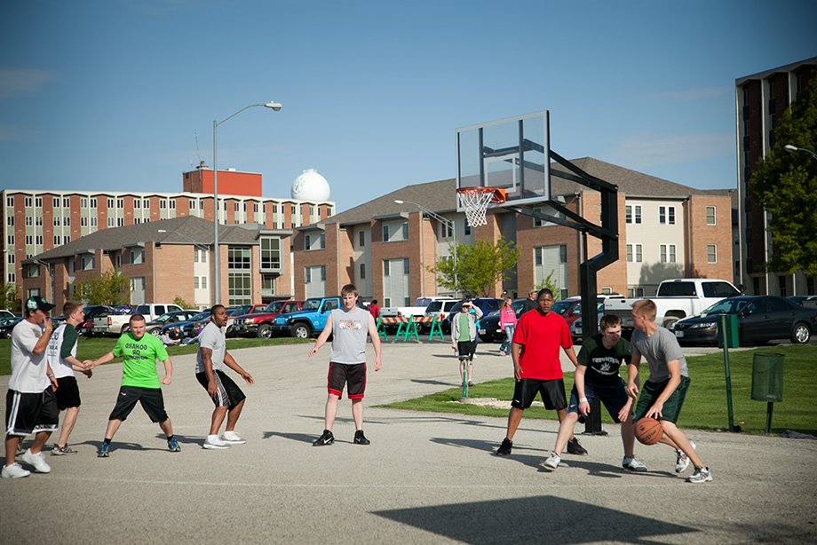 Northwest students take a break from studying to play a friendly game of basketball.