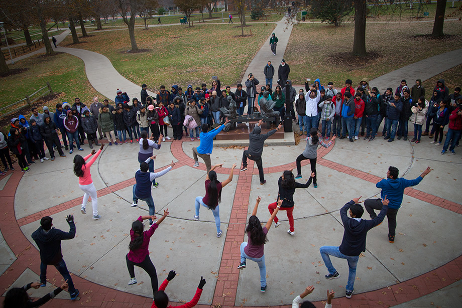 International students showing their dancing talent outside the Union.